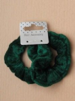 Card of 2 Small green Velveteen fabric scrunchies (Code 2803)